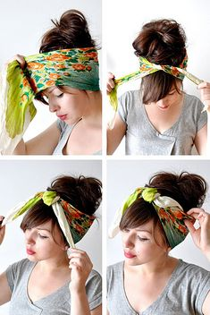 how to tie a head scarf:  i imagine i'd look super cute in this, but i'd probably just look dumb.  gonna try it anyway. :)