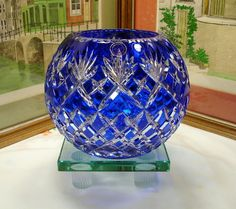 """Bohemian Crystal Clear Large 8"""" Cobalt Blue Cut to Clear Diamond Rose Bowl"""