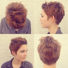 Womens short hair pixie cut with lots of texture by Lauren Franz-Maurer of Mint Hair Studio in Scottsdale. Arizona.