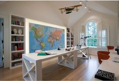 Taylor Howes Connecticut Home, wall map by Printed Space, study room interior design idea