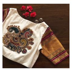 No automatic alt text available. Kalamkari Blouse Designs, Blouse Designs Silk, Designer Blouse Patterns, Bridal Blouse Designs, Designer Saree Blouses, Churidar Designs, Simple Blouse Designs, Stylish Blouse Design, Maggam Works