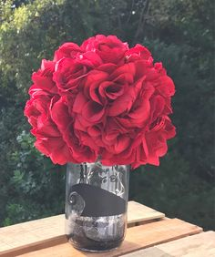 Your place to buy and sell all things handmade Flowers Wine, Faux Flowers, Wedding Boxes, Wedding Flowers, Wedding Themes, Wedding Events, Quart Size Mason Jars, Different Wines, Flower Ball