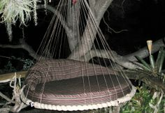 Round Floating Bed hanging from a tree limb will support up to 1000 lbs....stainless steel hoop and marine grade woven line.