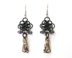 Cat earrings, Chainmaille rosettes weave, Light purple, silver, and black - pinned by pin4etsy.com