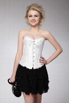 Bustier et Corset-Simple corset jacquard blanc