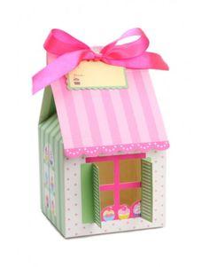 Caixa para Cupcake Casinha com Listras e Poá (4 unidades)