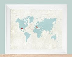 Custom Map Gift World Map Personalized Map por HereandThereShop