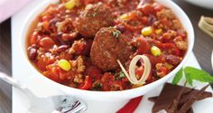 Chilli con carne s čokoládou Light Recipes, Chili, Soup, Beef, Skinny Recipes, Meat, Chilis, Soups, Ox