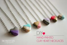 DIY Hand Painted Clay Heart Necklaces - these were so easy and turned out darling!