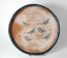 Bridges Pottery  Serving Plate Serving Platter with birds in Creme and Slate Blue -  Ready to Ship by bridgespottery on Etsy