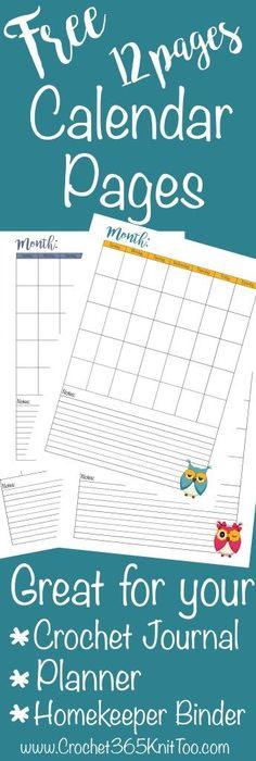 Free Crochet Journal Calendar Pages - Crochet 365 Knit Too