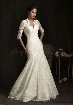 Mermaid Lace Half Sleeve Embroidery V-neck Draping Wedding Dress - Gopromdressus.com