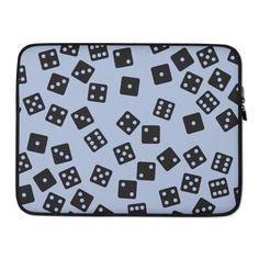 Dice Pattern Laptop Sleeve Blue / Black - 15 in