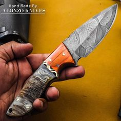 ALONZO KNIVES USA CUSTOM HANDMADE DAMASCUS HUNTING SKINNING KNIFE RAM HORN 1714 #AlonzoKnives