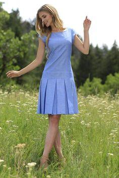 Sade Fit & Flare Dress Blue Sade Dress from the Fall Collection. The post Sade Fit & Flare Dress Blue… Fall Dresses, Simple Dresses, Pretty Dresses, Beautiful Dresses, Casual Dresses, Summer Dresses, Wedding Dresses, Modest Fashion, Fashion Dresses