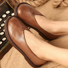 Women vintage comfortable flat shoe - Tkdress  - 1