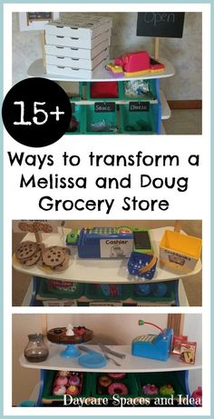 15+ ways to transform a Melissa & Doug Grocery Store for Pretend Play *So many creative ideas!