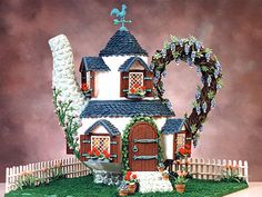 Good House Keeping Gingerbread House contest  - Veronica Romo of Boerne, TX, created this unique teapot gingerbread house which is covered in flowering vines. Description from pinterest.com. I searched for this on bing.com/images
