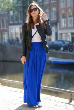 Royal blue maxi skirt (Forever 21), striped shirt (Old Navy), belt ...