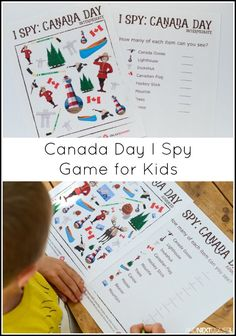 Canada Day Themed I Spy Game {Free Printable for Kids} - Spiel Spy Games For Kids, I Spy Games, Printable Activities For Kids, Kindergarten Activities, Summer Activities, Free Printables, Printable Worksheets, Canada For Kids, Canada 150