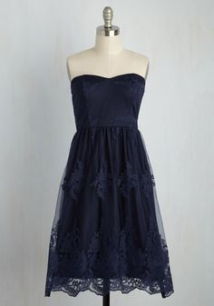From the first dip in your honey's arms to the last dance, you'll fall in 'lovely' with this navy dress. Each moment spent in its sweetheart neckline, voluminous, tulle-lined skirt, and elegantly embroidered overlay of this strapless midi - a ModCloth exclusive - will garner a glamorous feeling you'll cherish 'forever-amour'.