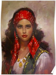 'Gypsy Girl (Orientalism) ⛔ HQ-quality' Poster by Alex ⛵ Air Gypsy Girls, Gypsy Women, Des Femmes D Gitanes, Halloween Imagem, Gypsy Culture, Harem Girl, Dance Paintings, Art Pictures, Photos