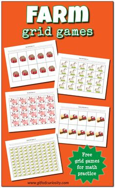grid games to support basic math skills Free Farm Grid Games printable with and options to help children work on basic math skills. Great for a preschool or kindergarten farm unit! Autumn Activities For Kids, Printable Activities For Kids, Preschool Games, Farm Activities, Math Games, Preschool Ideas, Free Printables, Grid Game, 100 Grid