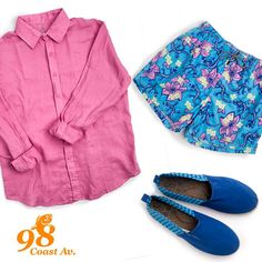 Coast 98 Los hombres con 98 Coast av serán los mas chic con sus outfits de verano. Camisa lino rosa, alpargatas azules y pantaloneta gipsy flower rosa y azul
