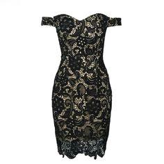 Off the Shoulder Split Back Hollow Out Bodycon Mini Lace Dress