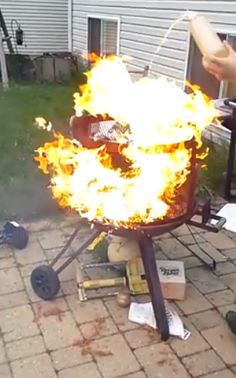 Do Not Pour Gasoline to Light a Fire in a Fire Pit! Photo Gasoline Vs Fire Having a fire pit in your backyard can bring added warmth to a chilly evening. Fire Pit Safety, How To Make Fire, Stupid, Backyard, Lighting, Outdoor Decor, Ideas, Patio, Light Fixtures