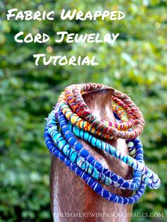 Fabric wrapped cord jewelry adds a fun and funky touch to any wardrobe.  It's also quick and easy to make with this step by step tutorial, including photos and a video.