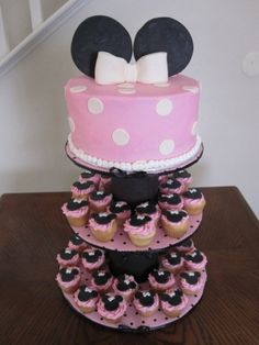 Minnie Mouse Cake and cupcake tiers by valarie