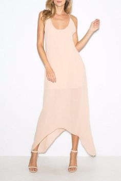 Criss cross back pink gown with a detachable pink belt that is included.  Castanets Gown by Rory Beca. Clothing - Dresses - Maxi Princeton New Jersey