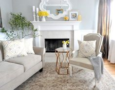 Love the mirror and mantle decor with pops of yellow!