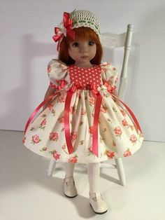 """Coral Floral"" Made for Effner Little Darling 13"" by Treasured Doll Designs"
