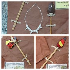 Stone Age: Year 3 made hunting and gathering tools. Stone Age Boy, Archaeology For Kids, Stone Age Tools, Magic Treehouse, History Projects, Ice Age, Bronze Age, Art Plastique, Art Lessons