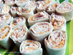 Kraft Salsa Roll Ups // cream cheese + salsa + shredded cheese + little dash of flavour + roll it all up in a tortilla !