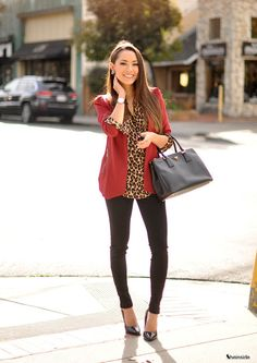 Wine Red Lapel Long Sleeve Fitted Blazer