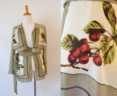 Vintage  1970's  Silk Handkerchief Panel Wrap Blouse | Kimono Blouse by GracedVestige on Etsy