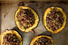 Roasted Acorn Squash with Wild Rice Stuffing. Sub with smart balance #glutenfree #vegan