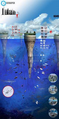 Voila une nouvelle idée folle que celle de ce gratte-ciel flottant, concept que l'on pourrait rattacher à Lilypad de Vincent Caillebaud, toujours dans cette volonté d'habiter sur l'eau. Présenté lors du concours 2010 eVolo Skysraper, comme