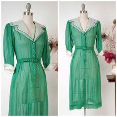 Vintage 1940s Dress Adorable Sheer Emerald Green Swiss Dot