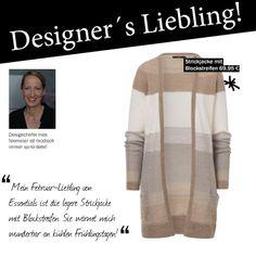 Der Februar-Favorit unserer Designchefin Ines ist diese beige Strickjacke mit den angesagten Blockstreifen.