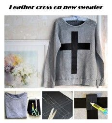 Leather cross on new sweater