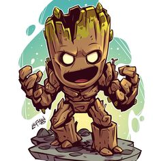 We are Groot! #groot #avengersinfinitywar #gotg #chibi #fanart #dereklaufman