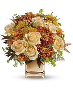 Teleflora's Autumn Romance Bouquet Flowers - Romantic and Whimsical Fall Bouquet Ideal on a Classic Thanksgiving Tablescape