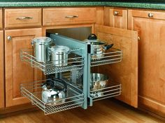 Buy the Rev-A-Shelf Chrome Direct. Shop for the Rev-A-Shelf Chrome Wide by Deep Two Tier Pull Out Blind Corner Base Cabinet Wire Basket Organizer and save. Kitchen Cabinet Accessories, Kitchen Cabinet Organization, Storage Cabinets, Kitchen Cabinets, Corner Cabinets, Cabinet Organizers, Kitchen Organizers, Cabinet Shelving, Cabinet Ideas