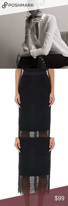 Robert Rodriguez R/RStudio Embroidered-lace skirt8 R/R Studio Robert Rodriguez Embroidered Skirt- Lace Black, MINT condition, Fashion statement, bought it at Barneys, pencil skirt with flowy lace over it and longer at the bottom.  Back Zipper, 100% Cotton, Lining 95% cotton 5% elastane. Credit to Barneys the window. Robert Rodriguez Skirts High Low