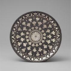 Works of Art Small, elegant, bidri round dish Deccan, Bidar, late century Diameter: 19 cm Copper Vessel, Mughal Paintings, Historical Art, Rangoli Designs, Stone Carving, Art Object, Antiquities, Tribal Art, Mandala Art