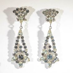 Drop earrings in diamante floral motif by TouchstoneVintage